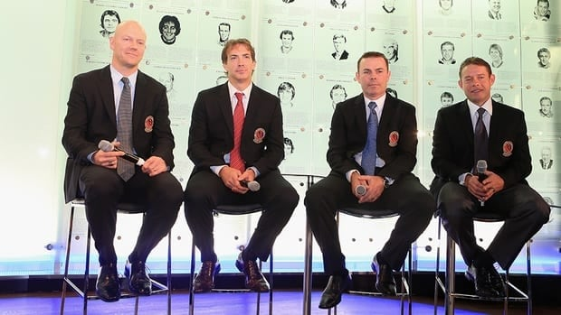 (L-R) Mats Sundin, Joe Sakic, Adam Oates and Pavel Bure attend a press conference at the Hockey Hall of Fame on November 12, 2012 in Toronto, Canada. All four are former NHL players who will be inducted into the Hall during a ceremony Monday.