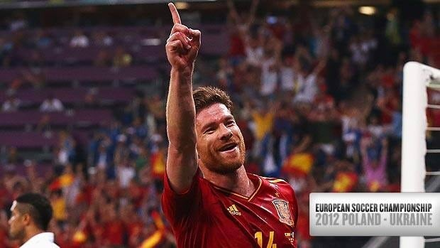 Xabi Alonso of Spain celebrates after scoring the first goal during Saturday's 2-0 quarter-final win over France at the European Championship in Donetsk, UkraineDonbass Arena on June 23, 2012 in Donetsk, Ukraine.