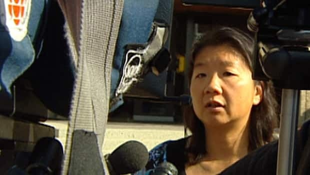 Edmonton police Det. Lisa Mah speaks to media Friday about another attack on a cyclist in the river valley.