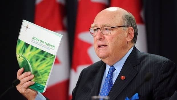 Conservative Senator David Angus released his Senate committee's report examining Canada's energy future during a news conference in Ottawa Thursday.
