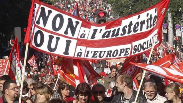 Organizers claim more than 80,000 protesters marched through Paris on Sunday, demonstrating against proposed austerity measures.