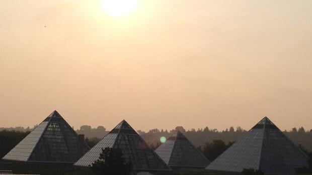 Edmonton's Muttart Conservatory shrouded in haze.