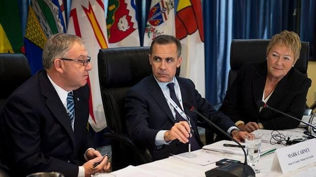 Nova Scotia Premier Darrell Dexter, Bank of Canada Governor Mark Carney and Quebec Premier Pauline Marois speak Friday morning before the premiers' economic summit in Halifax.