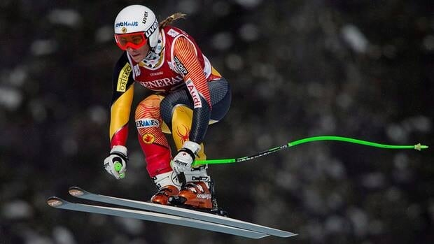 Canada's Larisa Yurkiw speeds down the course during the first women's downhill training run at the Lake Louise Winterstart World Cup in Lake Louise, Alta. on Tuesday.