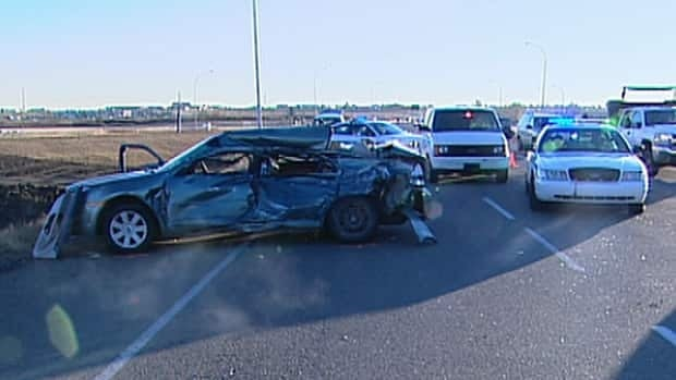 A woman died in a crash east of Edmonton at Baseline Road and Highway 216 after running stop sign.
