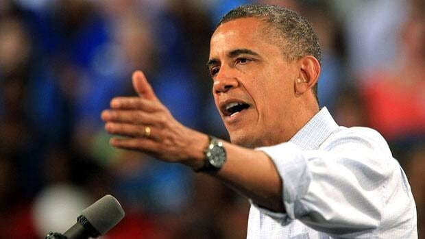 U.S. President Barack Obama speaks during a campaign stop at the Florida Institute of Technology's Charles and Ruth Clemente Center in Melbourne, Fla. on Sunday.