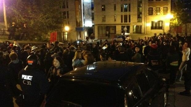 About a hundred people marched through Quebec City on Tuesday night in the latest of a series of demonstrations tied to the province's ongoing student crisis and Bill 78.