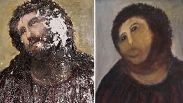 The original painting of Ecco Homo by painter Elias Garcia Martinez and its transformation.