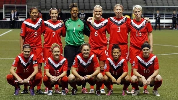 Canada's starting 11 pose for a photo prior to their final group game against Costa Rica at the CONCACAF Women's Olympic Qualifying Tournament earlier this week in Vancouver. The team takes on Mexico Friday in the semifinal with a berth to London 2012 on the line.