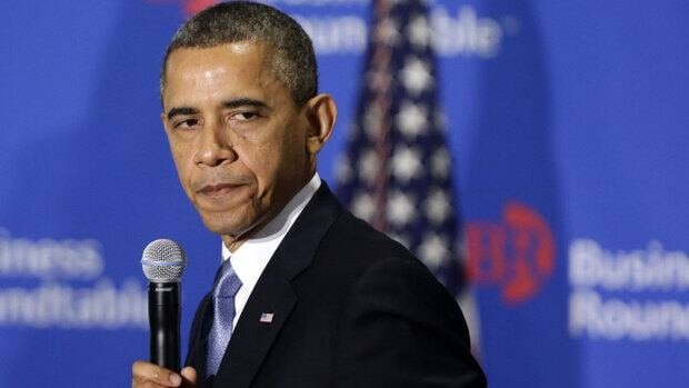 This Dec. 5 file photo shows President Barack Obama pausing as he speaks about the fiscal cliff at the Business Roundtable, an association of chief executive officers, in Washington