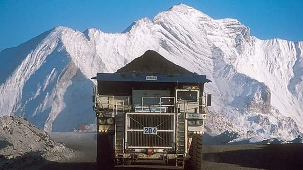A truck hauls a load at Teck Resources' Coal Mountain operation near Sparwood, B.C.