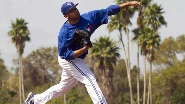 Ricky Romero of the Toronto Blue Jays pitches live batting practice at Jays Spring Training in Florida on Tuesday.