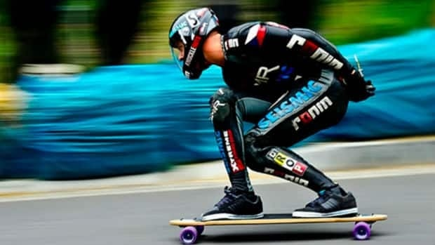 Mischo Erbane, of Vernon, B.C., broke a Guinness World Record going 129.94 km/h on his longboard on June 18, 2012.