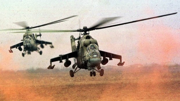 Russian Mi-24 helicopter gunships kick up dust. Syria has received dozens of Soviet-built Mi-8 transport helicopters and Mi-24 helicopter gunships since the Cold War times, and some of them require major repairs that can only be done by Russian plants.