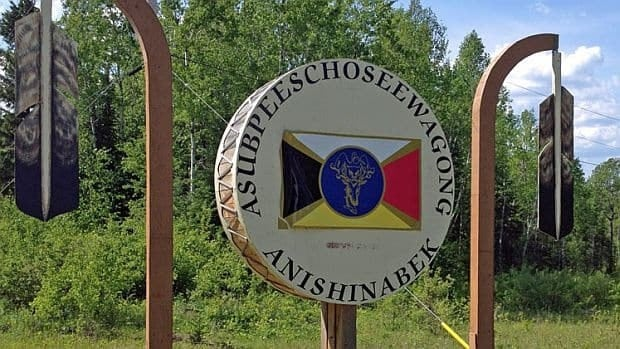 A sign near Grassy Narrows First Nation. Wabauskang First Nations elder Betty Riffel says the same mercury poisoning that affects Grassy Narrows and Whitedog First Nations also affects her community. Both of those First Nations received a multi-million dollar settlement, including the establishment of the Mercury Disability Board to compensate individuals, she said, adding the people of Wabauskang have received nothing.