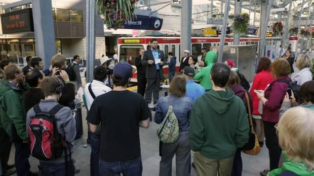 Chris Turner officially announced his candidacy for the Green Party in Calgary Centre Thursday at a C-Train platform.
