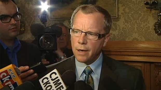 Premier Brad Wall speaks with reporters on March 26, after meeting with the Saskatchewan Motion Picture Industry Association to discuss the tax credit program.