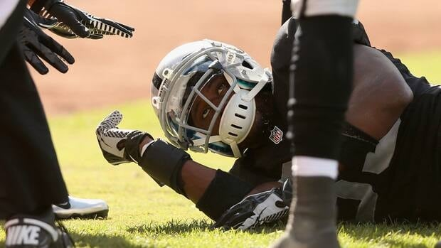 Darrius Heyward-Bey appeared to be knocked out immediately after getting hit on the chin by the crown of Ryan Mundy's helmet early in the fourth quarter of the Raiders' 34-31 win over the Steelers.