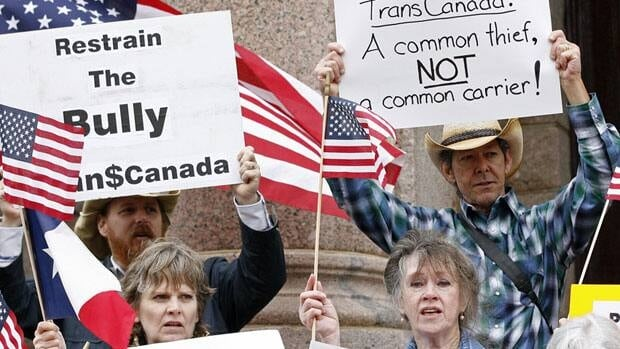 Supporters of landowner Julia Trigg Crawford protest against TransCanada in Paris, Texas, in February.