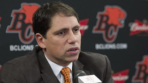 Head coach of the BC Lions Mike Benevides during a press conference.