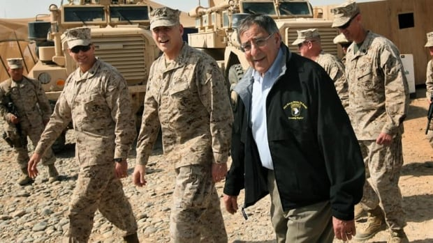 U.S. Defence Secretary Leon Panetta visits troops at Forward Operating Base Shukvani, Afghanistan, on Wednesday.