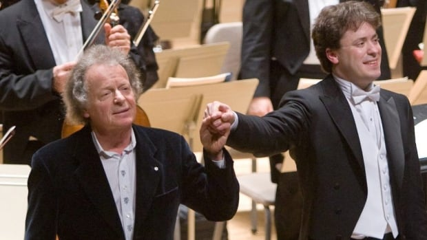 "Pianist Anton Kuerti and his son, Boston Symphony Orchestra assistant conductor Julian Kuerti, after their performance of Beethoven's ""Emperor"" piano concerto in 2008. Anton has been appointed to the Order of Ontario."