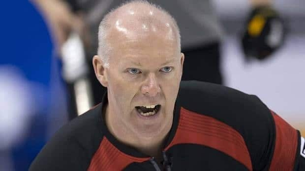 Canadian skip Glenn Howard reacts to a shot in Thursday's round-robin match against New Zealand.