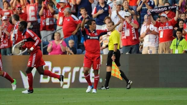 Chicago Fire's Pavel Pardo celebrates his goal against the Vancouver Whitecaps on Saturday night.