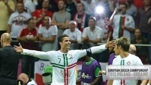 Portuguese forward Cristiano Ronaldo celebrates after scoring during the Euro 2012 quarter-final match against the Czech Republic.