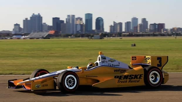 Brazil's Helio Castroneves earned his first victory at the Edmonton Indy after three second-place finishes.