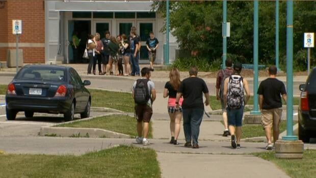 The mood was somber at Saltfleet District High School today after the deaths of two students near Jolley Cut. (Julia Chapman/CBC News)