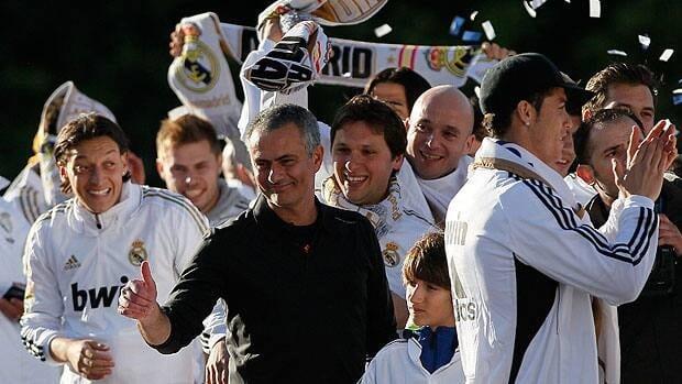 Jose Mourinho celebrates at Cibeles square after Real Madrid won the Spanish Soccer La Liga.