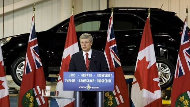 Prime Minister Stephen Harper said Tuesday that he is satisfied GM Canada is coming through on its promise to invest in research and development.
