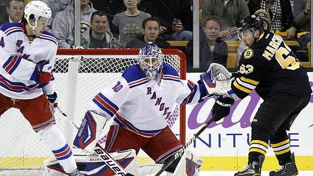 New York goalie Henrik Lundqvist and teammate Michael Del Zotto defend Saturday in Boston as Bruins forward Brad Marchand looks for a rebound. Michael Dwywer/Associated Press