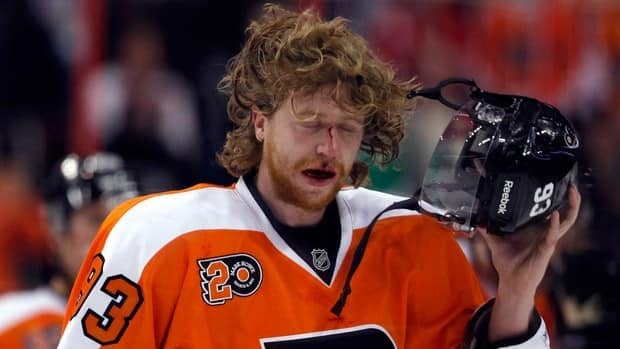 The face of Philadelphia Flyers right wing Jakub Voracek says it all after leaving the game against the Red Wings on Tuesday following a hit from Nicklas Kronwall.