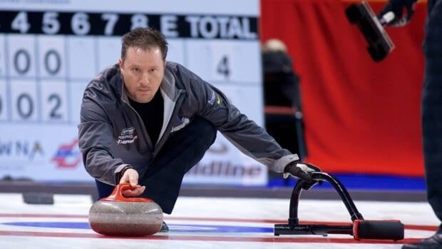 BC skip Brent Pierce throws a stone at the Canadian Open of Curling in Kelowna, B.C. on Thursday, Dec.13. Pierce's rink has a 2-1 record heading into Friday's action.
