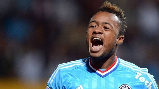 Marseille's Jordan Ayew celebrates his second-half goal.