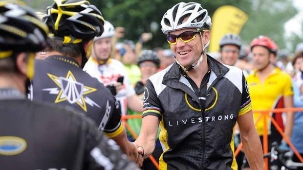Lance Armstrong in happier times from 2010. He is now being sued to return monies earned from a libel case against a British newspaper.