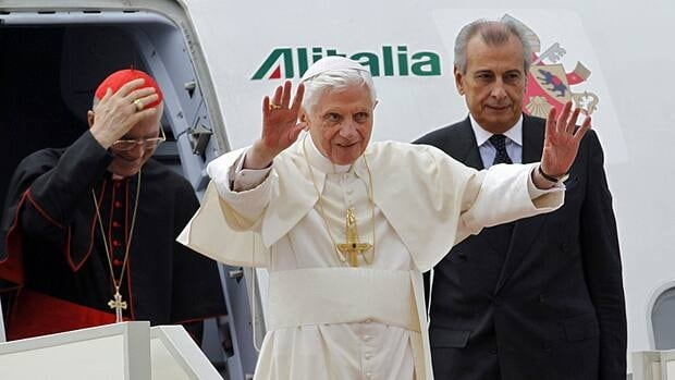 Pope Benedict XVI waves as he arrives at Beirut's airport on Friday.