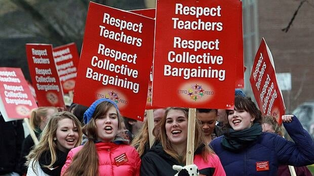 A group of high school students in Stratford, Ont., showed their support on Monday as elementary teachers began one-day rotating walkouts across the province.