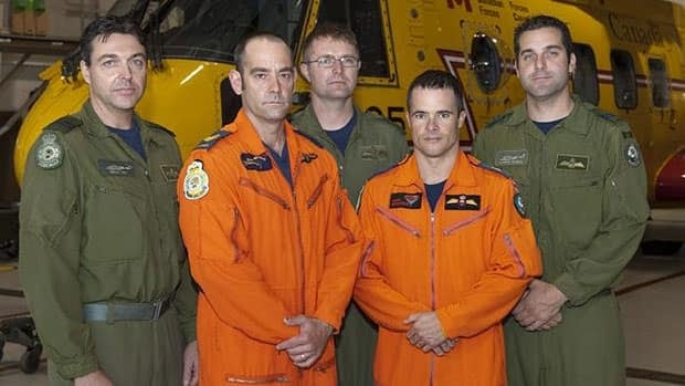 2012 Cormorant Trophy Winners (left to right): Captain Dean Vey (co-pilot), Sergeant Daniel Villeneuve (SAR Tech team lead), Sergeant Brad Hiscock (flight engineer), Master Corporal Shawn Bretschneider (SAR Tech team member) and Captain Aaron Noble (aircraft commander).