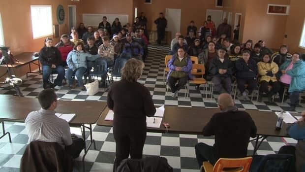 Residents of Black Tickle attended a community meeting Monday to consider their options. Peter Cowan/CBC