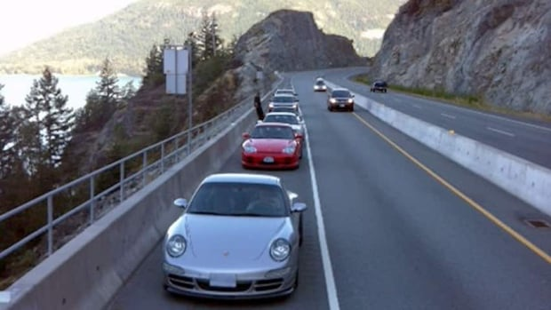 Police pulled over four Porsche drivers who were going over 125 km/h in an 80 km/h zone on Highway 99, which is between Vancouver and Whistler, B.C.