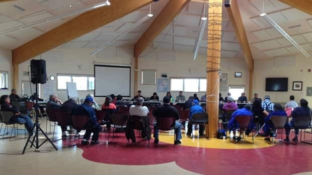 Members of the Yellowknives Dene First Nation gathered at a marathon eight-hour meeting over the weekend.
