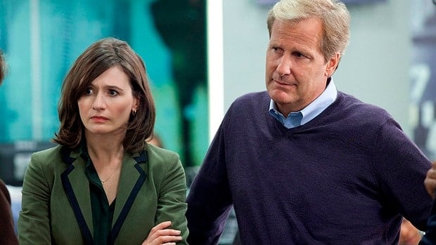 Emily Mortimer as executive producer MacKenzie McHale and Jeff Daniels as news anchor Will McAvoy in a scene from Aaron Sorkin's new series The Newsroom.