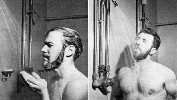 The 1967 study Microbiological Laboratory Hazard of Bearded Men done at the U.S. Army's Fort Detrick, Md., shows two methods of washing: the splash and the shower stream.