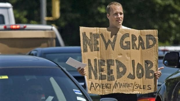 Jordan Smith, a graduate of Memorial University in St. John's, took his job hunt to the streets of Halifax in 2009. As employment numbers are still bleak, many graduates are trying to explore new ways to find work, experts say.