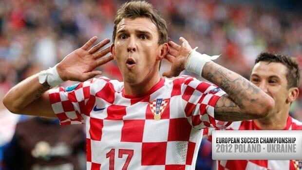 Croatia's Mario Mandzukic celebrates his tournament-tying third goal against Italy Thursday at the European championship in Poznan, Poland.