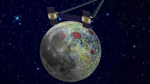 This artist rendering shows the twin Grail spacecraft mapping the lunar gravity field. After nearly a year circling the moon, NASA's Ebb and Flow spacecraft will meet their demise when they are scheduled to crash -- on purpose -- into a lunar mountain on Monday.