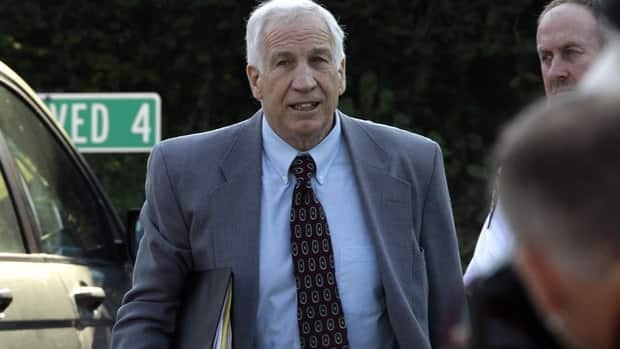 Former Penn State University assistant football coach Jerry Sandusky arrives at the Centre County Courthouse in Bellefonte, Pa., on Thursday.